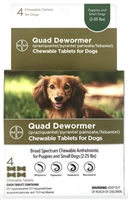 Bayer Quad Dewormer for Puppies & Small Dogs.